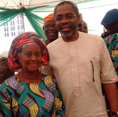 His mum pictured with House of Reps. leader Femi Gbajabiamilia.