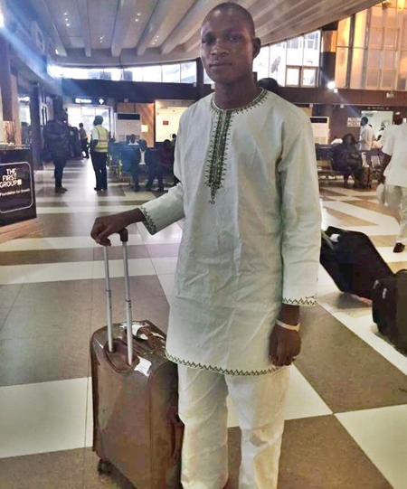Yunusa at the airport