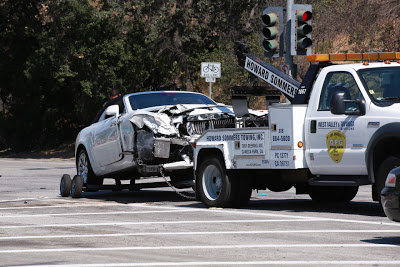 Picture Shows: GV, General View August 03, 2016 Reality star Kris Jenner was in a car accident in Calabasas, California. She crashed her Rolls-Royce into a Prius. Her car appeared to have severe damage to the front. Non-Exclusive UK RIGHTS ONLY Pictures by : FameFlynet UK ¿ 2016 Tel : +44 (0)20 3551 5049 Email : info@fameflynet.uk.com