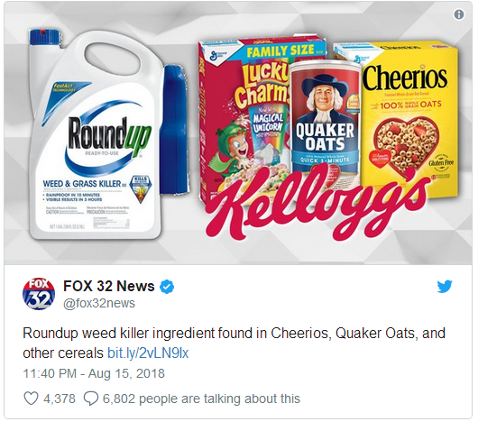 High Level Of Weed Killer Chemicals Found In Dozens Of